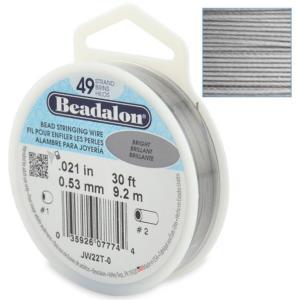 Beadalon Stringing Wire 49 Strands .021 (.53mm) 30 ft/9.2m Bright
