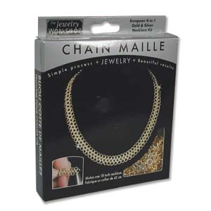 The Jewellery Workshop - European 4-in-1 - Chain Maille KIT - Two Tone Necklace - Silver and Gold Colour