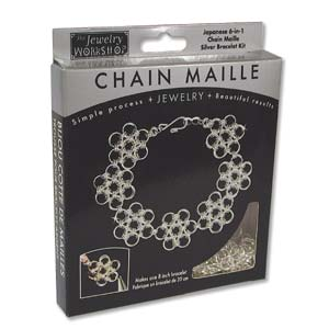 The Jewellery Workshop - Japanese 6-in-1 - Chain Maille KIT - Bracelet - Silver Colour