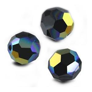 Swarovski Crystal Beads 6mm Round Jet AB x1