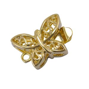 Gold Tone Filigree Butterfly Pearl Box Clasp x2
