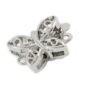 Platinum Tone Filigree Butterfly Pearl Box Clasp x2
