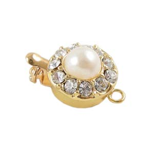 Gold Tone Rhinestone Pearl Box Clasp x1
