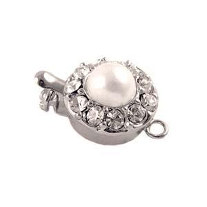 Platinum Plated Rhinestone Pearl Box Clasp x1