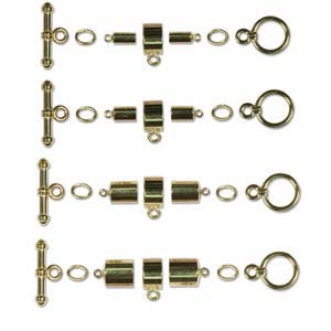 Kumihimo Findings Sets Gold Plated Barrel (all four sizes)
