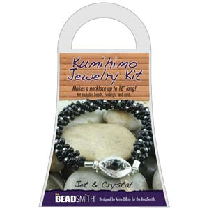 Beadsmith Kumihimo Jewellery Kit - Jet & Crystal
