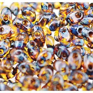 Miyuki Magatama Bead 4x7mm Long Picasso Dark Amber Transparent
