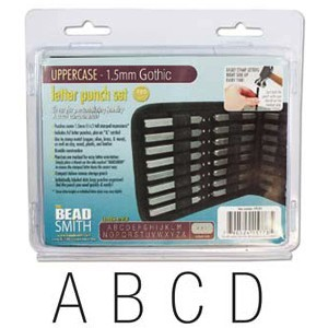 Beadsmith Gothic Alphabet Upper Case Letter 1.5mm 1/16 Stamping Punch Set