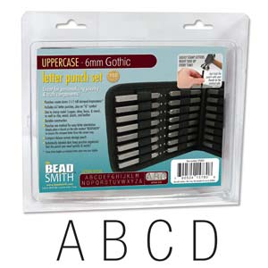 Beadsmith Gothic Alphabet Upper Case Letter 6mm 1/4 Stamping Punch Set