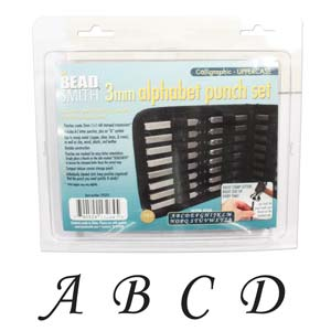 Beadsmith Calligraphic Alphabet Upper Case Letter 3mm Stamping Set - Beadsmith Metal Elements