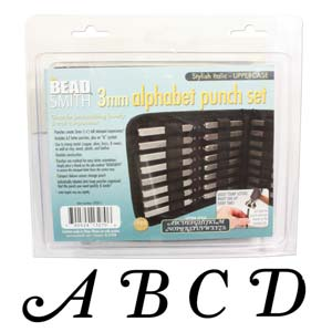 Stylish Italic Alphabet Upper Case Letter 3mm Stamping Set - Beadsmith