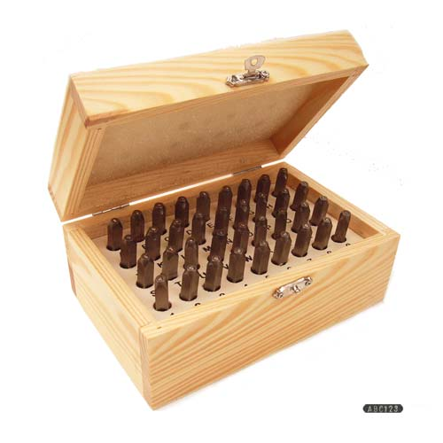 Beadsmith Gothic Alphabet Upper Case Letter and Number 1.5mm 1/16 Stamping Set in Wooden Box