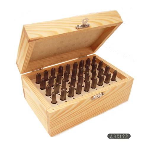 Beadsmith Gothic Alphabet Upper Case Letter and Number 3mm 1/8 Stamping Set in Wooden Box