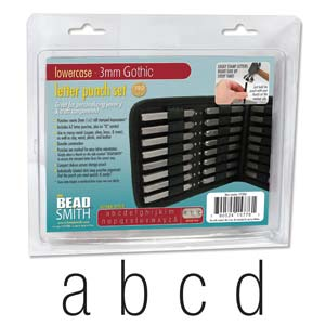 Beadsmith Gothic Alphabet Lower Case Letter 3mm 1/8 Stamping Punch Set