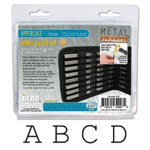 Courier Alphabet Upper Case Letter 3mm Stamping Set - Beadsmith Metal Elements