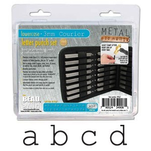 Courier Alphabet Lower Case Letter 3mm Stamping Set - Beadsmith Metal Elements