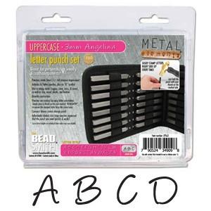 Angelina Alphabet Upper Case Letter 3mm Stamping Set - Beadsmith Metal Elements