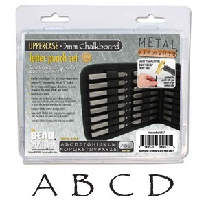 Beadsmith Chalkboard Alphabet Upper Case Letter 3mm Stamping Set - Beadsmith Metal Elements