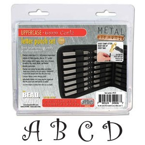 Beadsmith Curlz Alphabet Upper Case Letter 6mm Stamping Set - Beadsmith Metal Elements