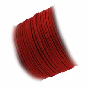 Faux Micro Suede Flat Cord 3mm - Scarlett Red per metre