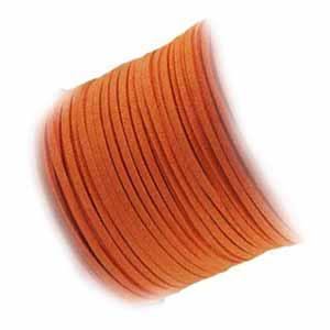 Faux Micro Suede Flat Cord 3mm - Burnt Orange per metre
