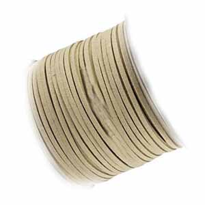 Faux Micro Suede Flat Cord 3mm - Khaki Sand per metre