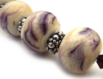 SOLD - Artisan Glass Lampwork Beads ~ Purple & Ivory Marble Set ~ Ian Williams