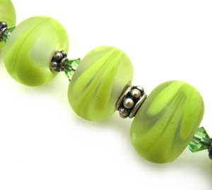 SOLD - Artisan Glass Lampwork Beads ~ Lime Spritz Feathers Set ~ Ian Williams