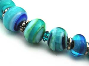 SOLD - Artisan Glass Lampwork Beads  ~ Tiny Aqua Set - Ian Williams