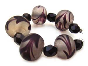 SOLD - Artisan Glass Lampwork Beads ~ Black Feather Boa Set - Ian Williams