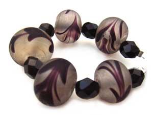 SOLD - Artisan Glass Lampwork Beads ~ Black Feather Boa Set - Ian Williams