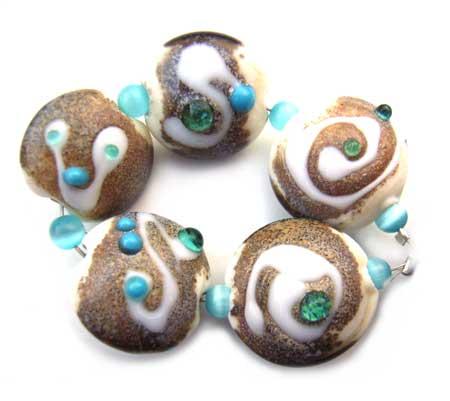 SOLD - Artisan Glass Lampwork Beads ~ Beach Shore Set - Ian Williams