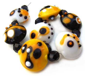 SOLD - Artisan Glass Lampwork Beads ~ Bumble Bee Set