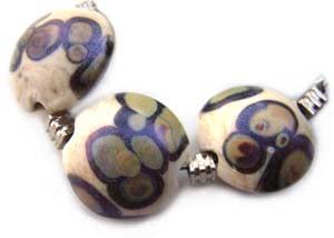 SOLD - Artisan Glass Lampwork Beads ~ Ivory Peacock Shimmer Set