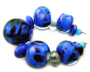 SOLD - Blue Set Artisan Glass Lampwork Beads