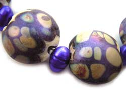 SOLD - Artisan Glass Lampwork Beads ~ Purple Peacock Shimmer Set