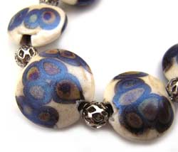 SOLD - Artisan Glass Lampwork Beads ~ Peacock Raku Set