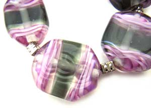 SOLD - Artisan Glass Lampwork Beads ~ Pink n Smokey Quartz Set