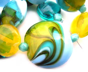 SOLD - Artisan Glass Lampwork Beads ~ Tahitian Shore Set