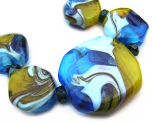 SOLD - Aldinga Set Artisan Glass Lampwork Beads - Ian Williams