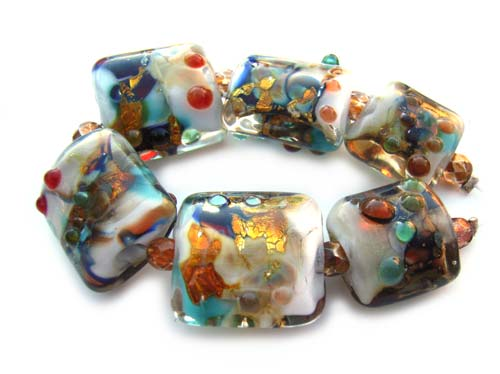 SOLD - Artisan Glass Lampwork Beads ~ Turkish Mini Bizarre ~ Encased Sleek Pillows Set