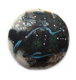 Starry Ex Large Focal Pendant Bead  - Ian Williams Artisan Glass Lampwork Beads 36mm