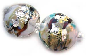 SOLD - Artisan Glass Lampwork Beads ~ Russian Winter ~ Encased Chunky Lentils, Rounds and Focal Pendant Set