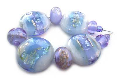Sold - Artisan Glass Lampwork Beads ~ Lavender Lake Set ~ Ian Williams