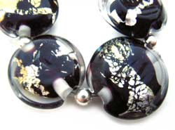 SOLD - Artisan Glass Lampwork Beads ~ Black with Foil ~ Encased Lentil Set - Ian Williams