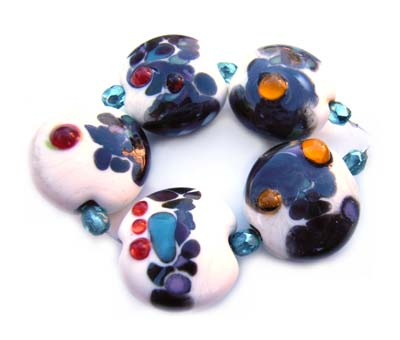 SOLD - Artisan Glass Lampwork Beads ~ Tab Beads Set