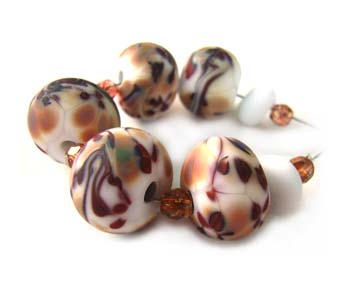 Sold - Artisan Glass Lampwork Beads ~ Wind of Leaves Set ~ Ian Williams