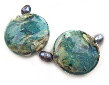Sold - Artisan Glass Lampwork Beads ~ Sunrise Lagoon Set ~ Ian Williams