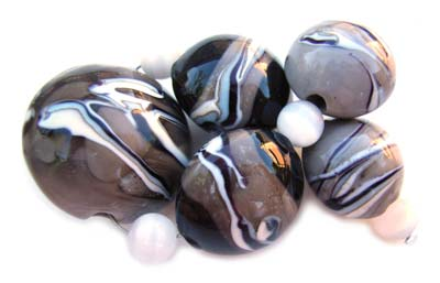 SOLD - Artisan Glass Lampwork Beads ~ Grecian Palace Set