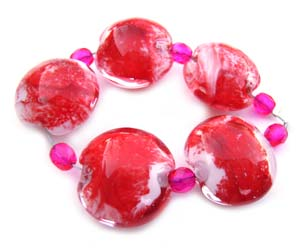 Red Lentils Set Artisan Glass Lampwork Beads ~ Ian Williams